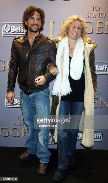 Licia Colo' and husband Alessandro Antonino attend the I Am Legend premiere at the Moderno Cinema on January 9 2008 in Rome Italy