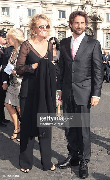 Licia Colo and husband arrive at the Quirinale Palace to attend a Gala Dinner hosted by Italy's President Giorgio Napolitano on June 1 2010 in Rome...