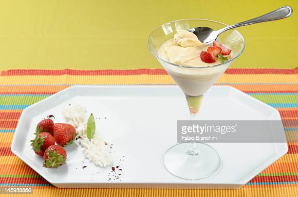 Licorice Parfait with strawberries