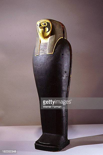 Lid of a mummiform case containing the figure of the god of the dead Osiris The falcon head depiction refers to the god Sokar god of the Memphite...