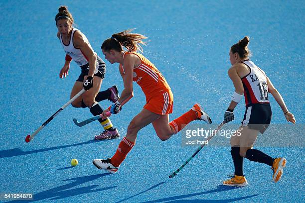 Lidewij Welten of the Netherlands carries the ball during the FIH Women's Hockey Champions Trophy 2016 match between the Netherlands and the United...