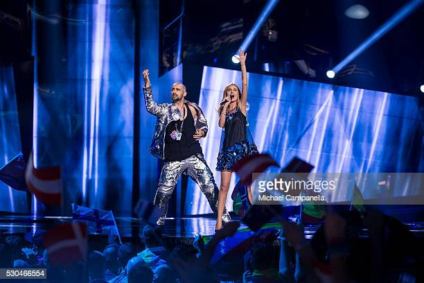 Lidia Isac of Moldova performs the song 'Falling Stars' during the semifinals of the 2016 Eurovision Song Contest at Ericsson Globe Arena on May 10...