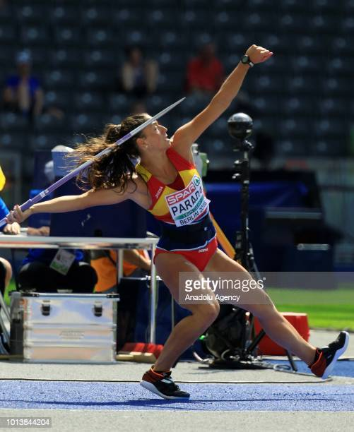 Lidia Parada of Spain competes in the women's javelin throw qualification during the fourth day of the 2018 European Athletics Championships in...