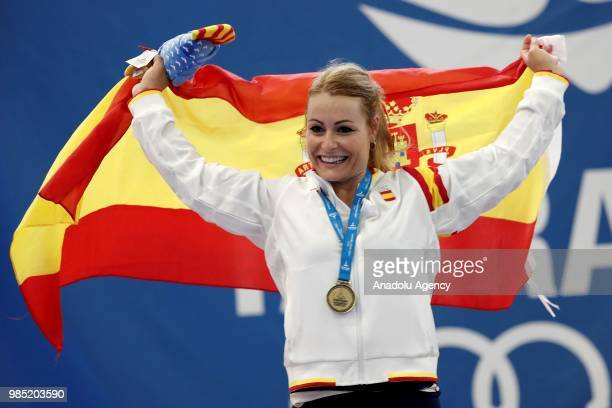Lidia Perez Valentin of Spain celebrates after winning the gold medal in the 75kg Women's weightlifting final within the XVIII Mediterranean Games...