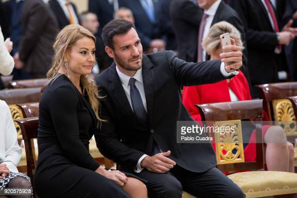 Lidia Valentin and Saul Craviotto attend the National Sports Awards ceremony at El Pardo Palace on February 19 2018 in Madrid Spain