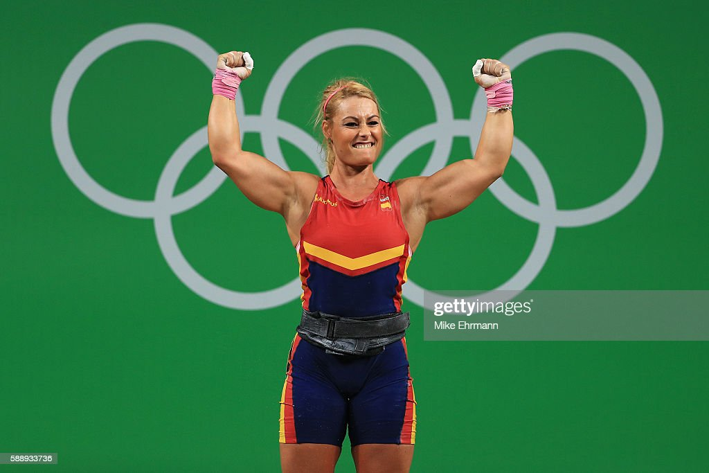 Lidia Valentin Perez Of Spain Celebrates During The Weightlifting Womenu0027s  75kg Group A On Day 7