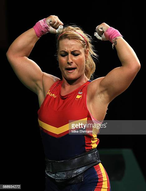 Lidia Valentin Perez of Spain celebrates during the Weightlifting Women's 75kg Group A on Day 7 of the Rio 2016 Olympic Games at Riocentro Pavilion 2...