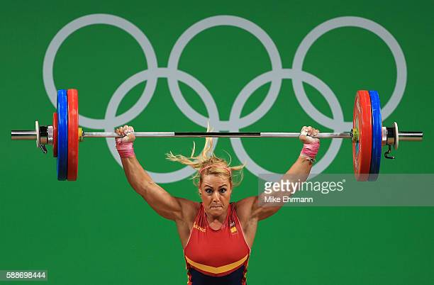 Lidia Valentin Perez of Spain in action during the Weightlifting Women's 75kg Group A on Day 7 of the Rio 2016 Olympic Games at Riocentro Pavilion 2...