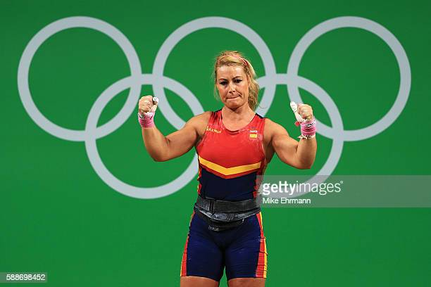 Lidia Valentin Perez of Spain reacts during the Weightlifting Women's 75kg Group A on Day 7 of the Rio 2016 Olympic Games at Riocentro Pavilion 2 on...
