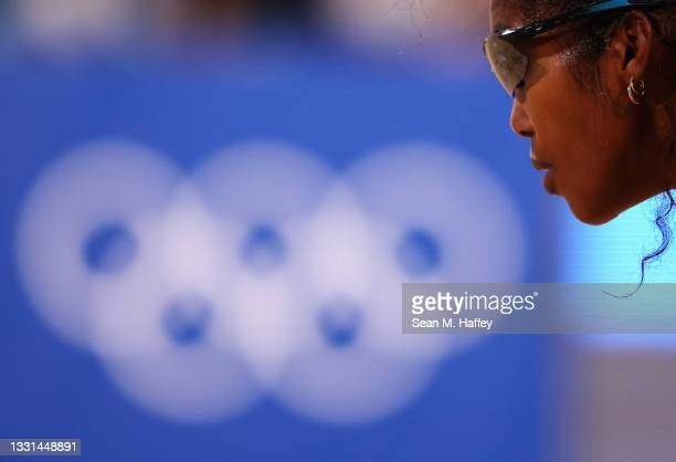 Lidianny Echevarria Benitez of Team Cuba competes against Team Italy during the Women's Preliminary - Pool E beach volleyball on day seven of the...