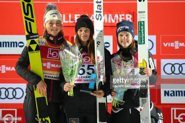 Lidiia Iakovleva of Russia takes 1st place, Maren Lundby of Norway takes 2nd place, Ema Klinec of Slovenia takes 3rd place during the FIS Nordic...