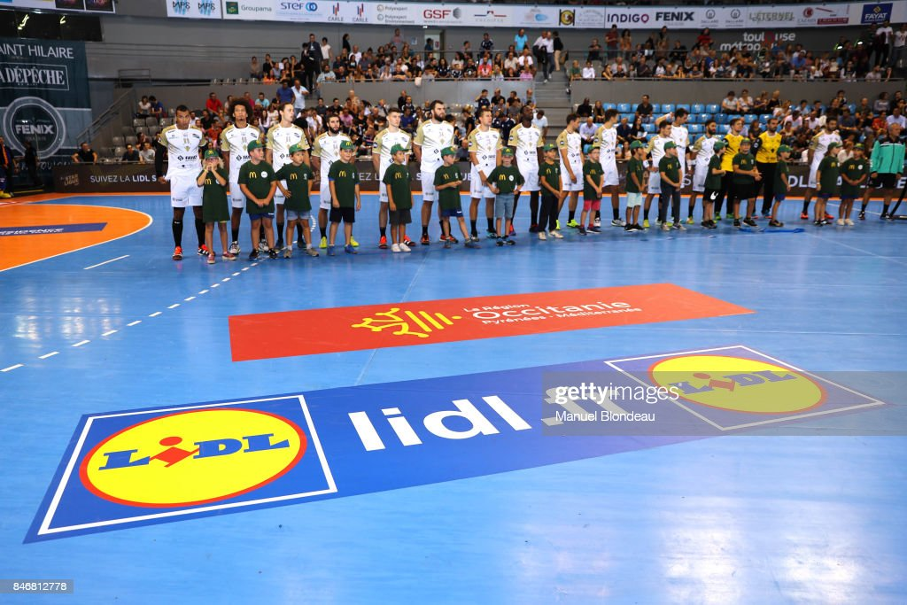 Lidl sponsor of the french Handball league during Lidl Star Ligue match between Fenix Toulouse and Pays D'aix Universite Club on September 13, 2017 in Toulouse, France.