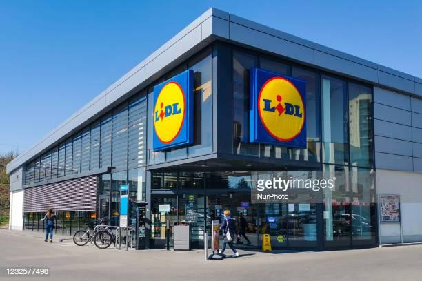 Lidl supermarket in Krakow, Poland on April 28, 2021.