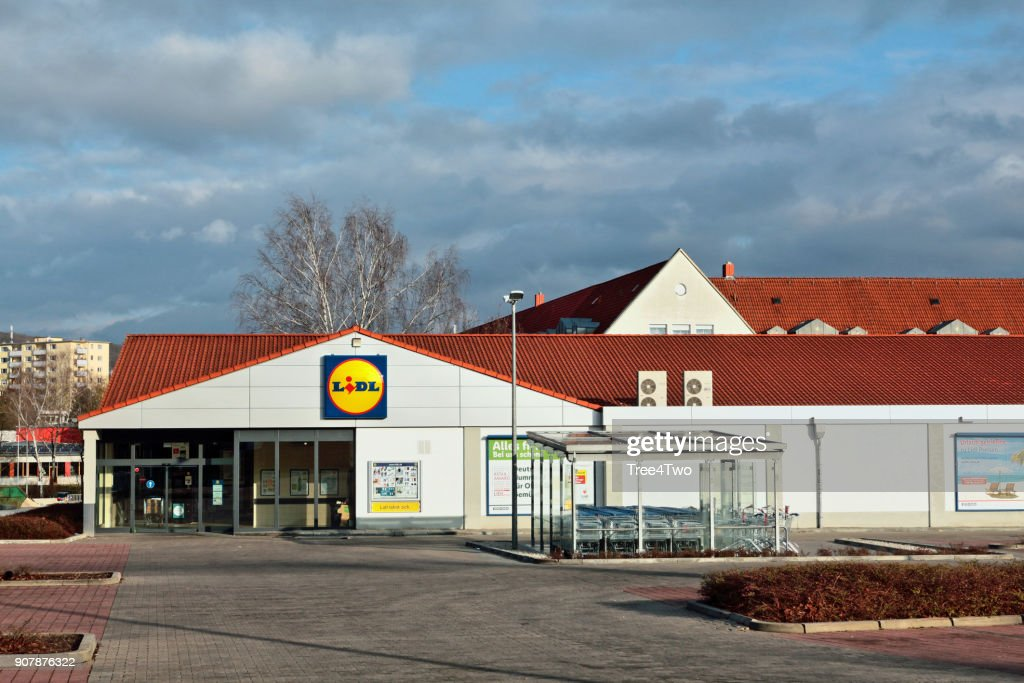 Lidl supermarket store in the german town Amberg : Stock Photo