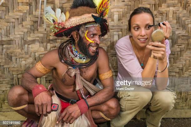 lido dancer makeup with papuan man - tari stock pictures, royalty-free photos & images