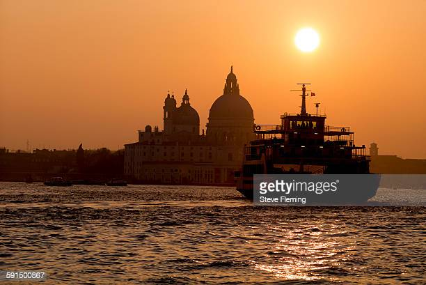 lido ferry, venice, italy - punta della dogana stock photos and pictures