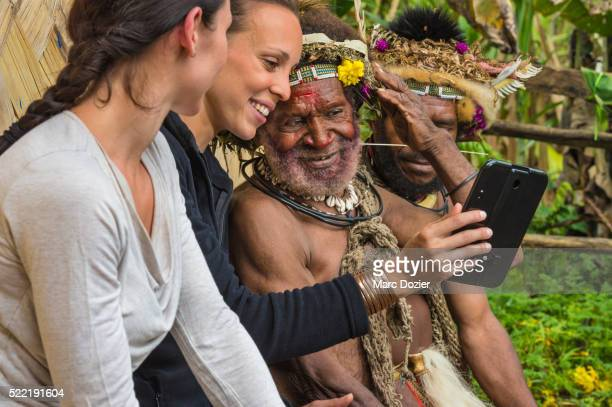 lido's dancers getting ready with papuan men - tari stock pictures, royalty-free photos & images