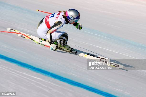 Lidsey Vonn of the US competes during the second women's downhill practice at a FIS Alpine Ski World Cup in Jeongseon some 150km east of Seoul that...