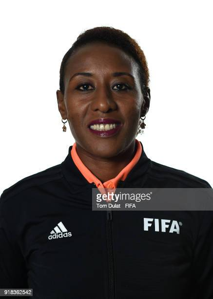 Lidya Tafesse Abebe of Ethiopia poses for photographs during the FIFA Women's Referee Seminar on February 14 2018 in Doha Qatar