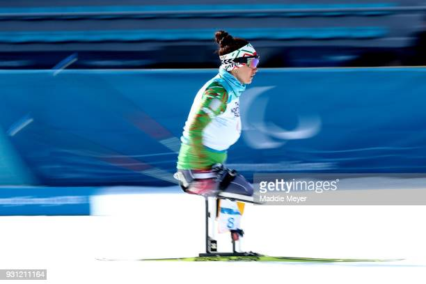 Lidziya Hrafeyeva of Belarus competes in the Women's 10 km Sitting Biathlon at Alpensia Biathlon Centre on Day 4 of the PyeongChang 2018 Paralympic...