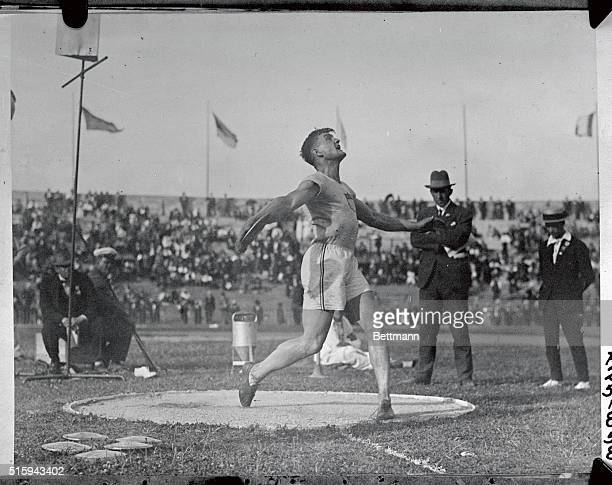 Lieb of the United States came in third in 'discus throw' events Here he is shown after a discus throw