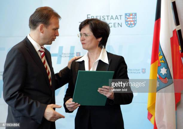 Lieberknecht Christine Politician CDU Germany being appointed as secretary of welfare in the state of Thuringia left handed Prime Minister Dieter...