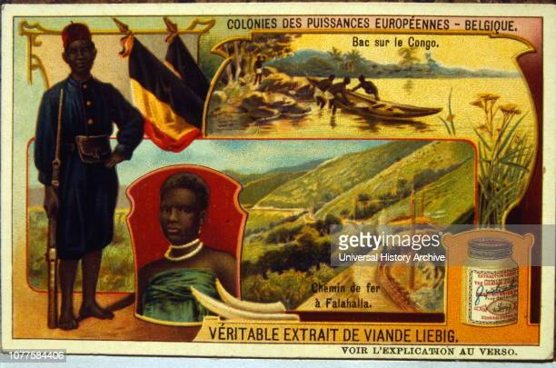 Liebig card showing the Belgian Congo empire with railway and African soldier 1900.