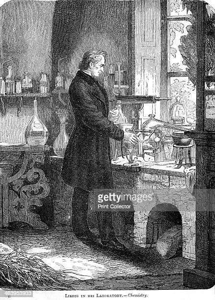 'Liebig in His LaboratoryChemistry' mid 19th century German chemist Baron Justus Freiherr von Liebig was one of the most illustrious chemists of his...