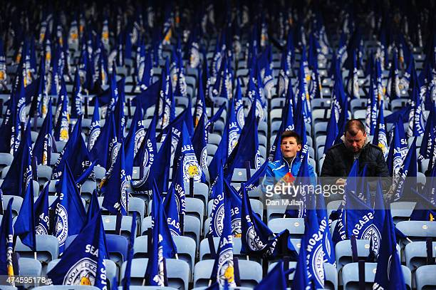 Liecester City fans are seen prior to the Barclays Premier League match between Leicester City and Queens Park Rangers at The King Power Stadium on...