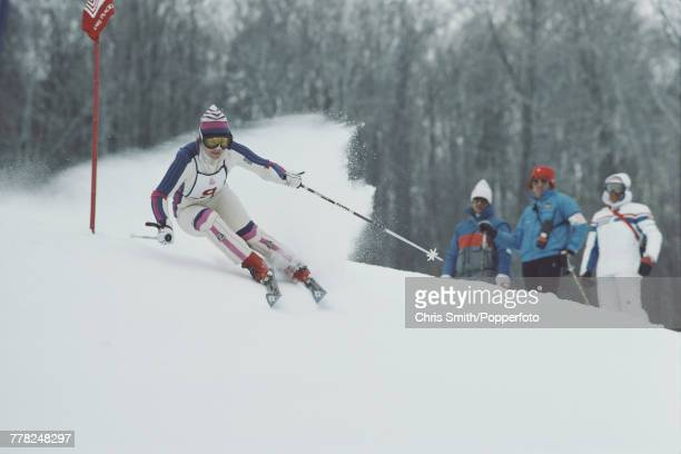 Liechtenstein alpine ski racer Hanni Wenzel pictured in action competing to finish in first place to win the gold medal in the Women's slalom skiing...