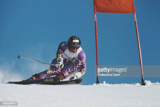 Liechtenstein alpine skier Daniel Vogt pictured competing in the Men's giant slalom skiing event held at Hafjell during the 1994 Winter Olympics in...