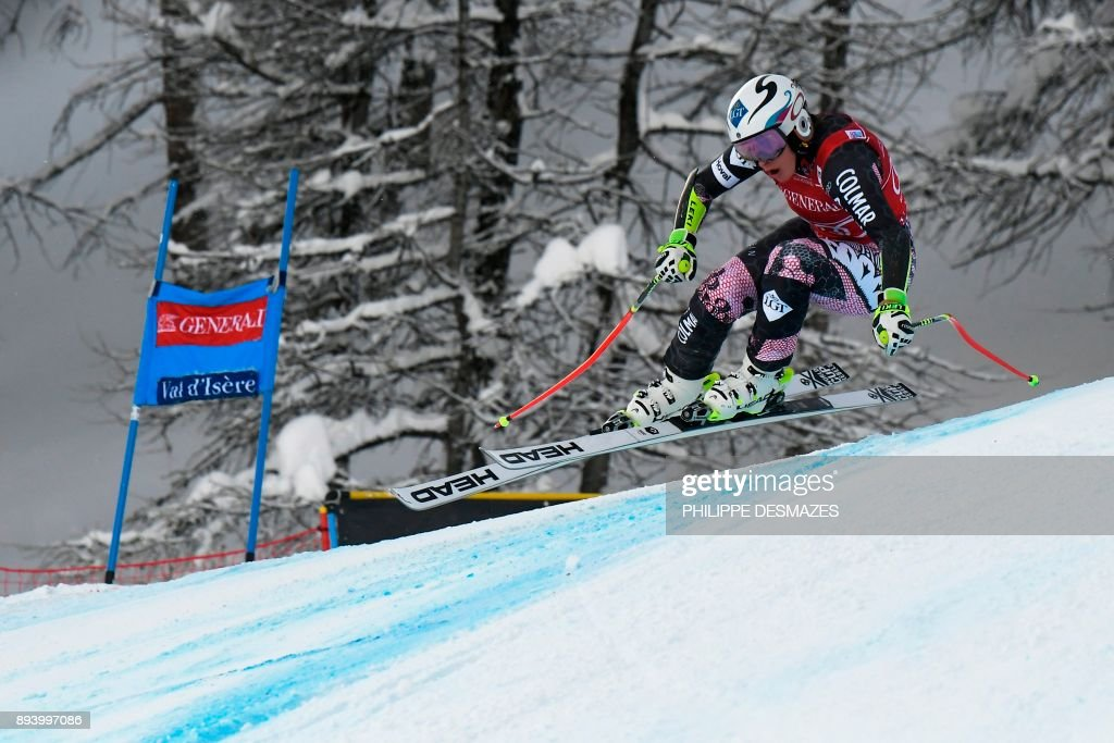 Liechtenstein Tina Weirather competes during the women's Super-G race at the FIS Alpine Skiing World Cup in Val-d'Isere, French Alps, on December 17, 2017. /