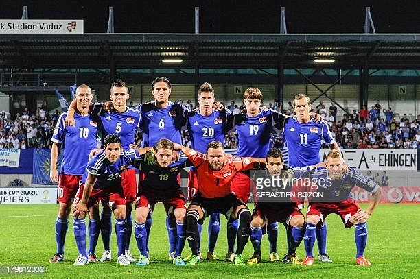 Liechtenstein's team poses before the World Cup 2014 qualification match Leichtenstein vs Greece on August 6 at the Rheinpark stadium in Vaduz...