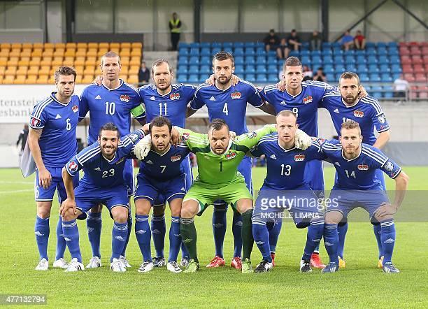 Liechtenstein's team standing from left Andreas Christen Mario Frick Franz Burgmeister Daniel Kaufmann Sandro Wieser and Seyhan Yildiz second row...