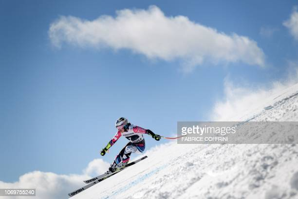 Liechtenstein's Tina Weirather competes in the Women's Super G race during the FIS Alpine Ski World Cup on December 8 in Saint Moritz.