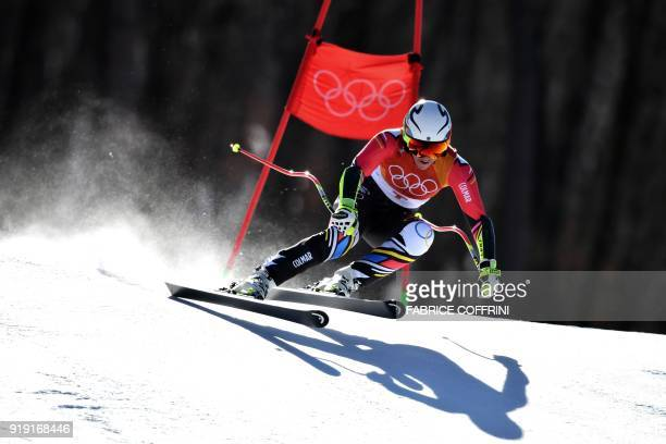 Liechtenstein's Tina Weirather competes in the Women's SuperG at the Jeongseon Alpine Center during the Pyeongchang 2018 Winter Olympic Games in...