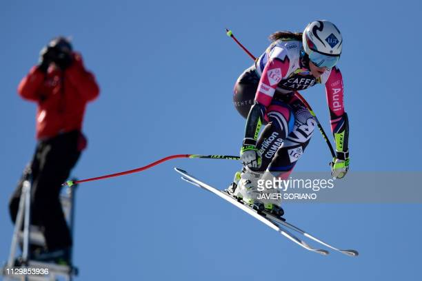 Liechtenstein's Tina Weirather takes part in the training run for the women's downhill race of the FIS Alpine Ski World Cup Finals at SoldeuEl Tarter...