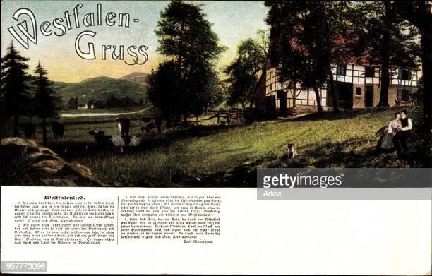 Lied Ak Westfalengruß Westfalenlied Liebespaar auf einer Bank Kühe