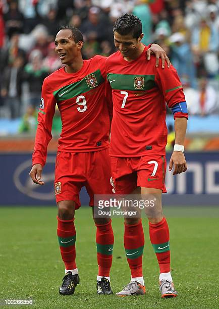 Liedson celebrates with Cristiano Ronaldo of Portugal after he scored his team's sixth goal during the 2010 FIFA World Cup South Africa Group G match...