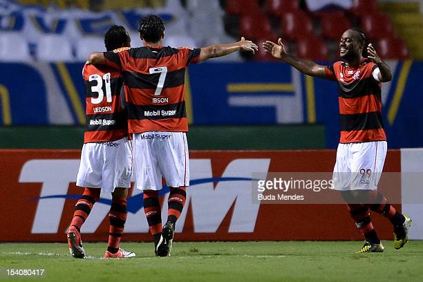 Liedson, Ibson and Vagner Love of Flamengo celebrate a scored goal againist Cruzeiro during a match between Flamengo and Cruzeiro as part of the...