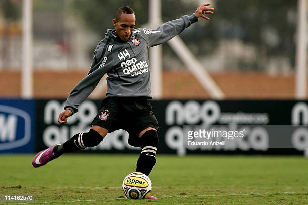Liedson in action during a training session of Corinthians at Academia de Futebol on May 13, 2011 in Sao Paulo, Brazil.