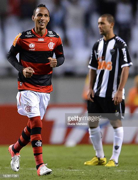 Liedson of Flamengo celebrates a scored goal during a match between Flamengo and Atletico Mineiro as part of the Brazilian Serie A Championship, at...
