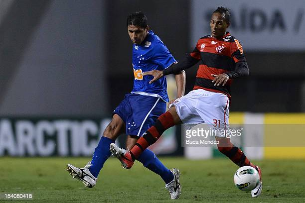 Liedson of Flamengo fights for the ball during a match between Flamengo and Cruzeiro as part of the Brazilian Serie A Championship, at Engenhao...