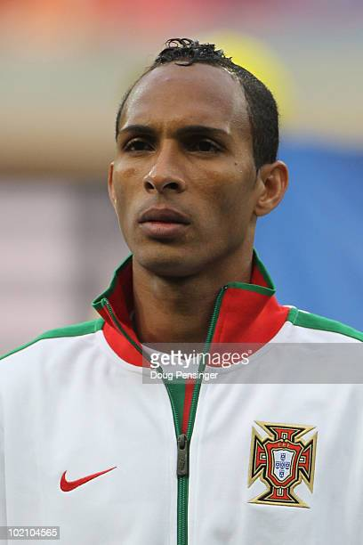 Liedson of Portugal lines up for the national anthems prior to the 2010 FIFA World Cup South Africa Group G match between Ivory Coast and Portugal at...