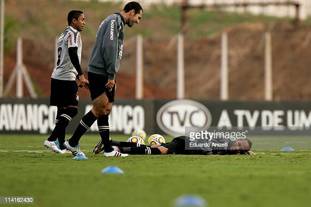 Liedson reacts during a training session of Corinthians at Academia de Futebol on May 13, 2011 in Sao Paulo, Brazil.