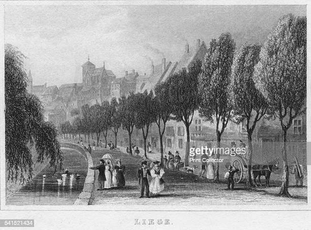 Liege' 1850 From The Continental Tourist Belgium and Nassau [Parry and Co London 1850] Artist R Brice