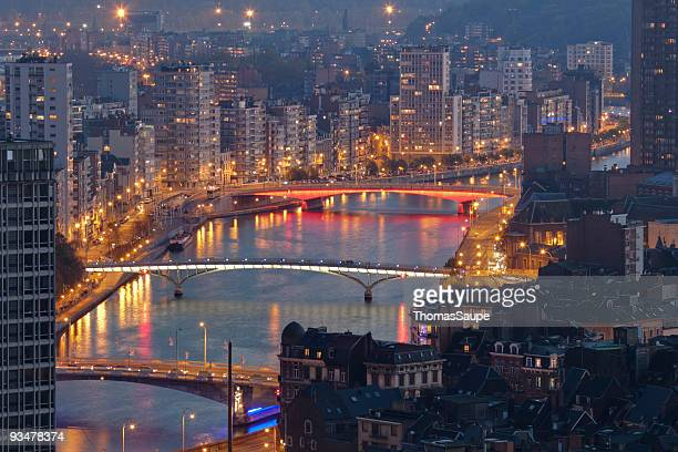 liege at night - liege stock pictures, royalty-free photos & images