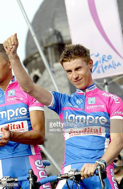 Italian Damiano Cunego of Lampre arrives for the official presentation of the teams taking part in the Tour of Italy cycling race, 04 May 2006, in...