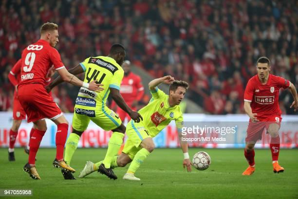 20180414 Liege Belgium / Standard de Liege v Kaa Gent / 'nRenaud EMOND Anderson ESITI Brecht DEJAEGERE'nFootball Jupiler Pro League 2017 2018 PlayOff...