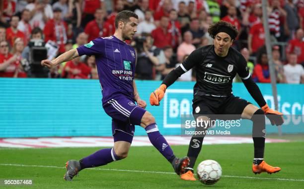 20180418 Liege Belgium / Standard de Liege v Rsc Anderlecht / 'nIvan OBRADOVIC Guillermo OCHOA'nFootball Jupiler Pro League 2017 2018 PlayOff 1...